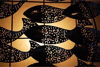 アジアン照明。魚のウォール、ブラケットライト