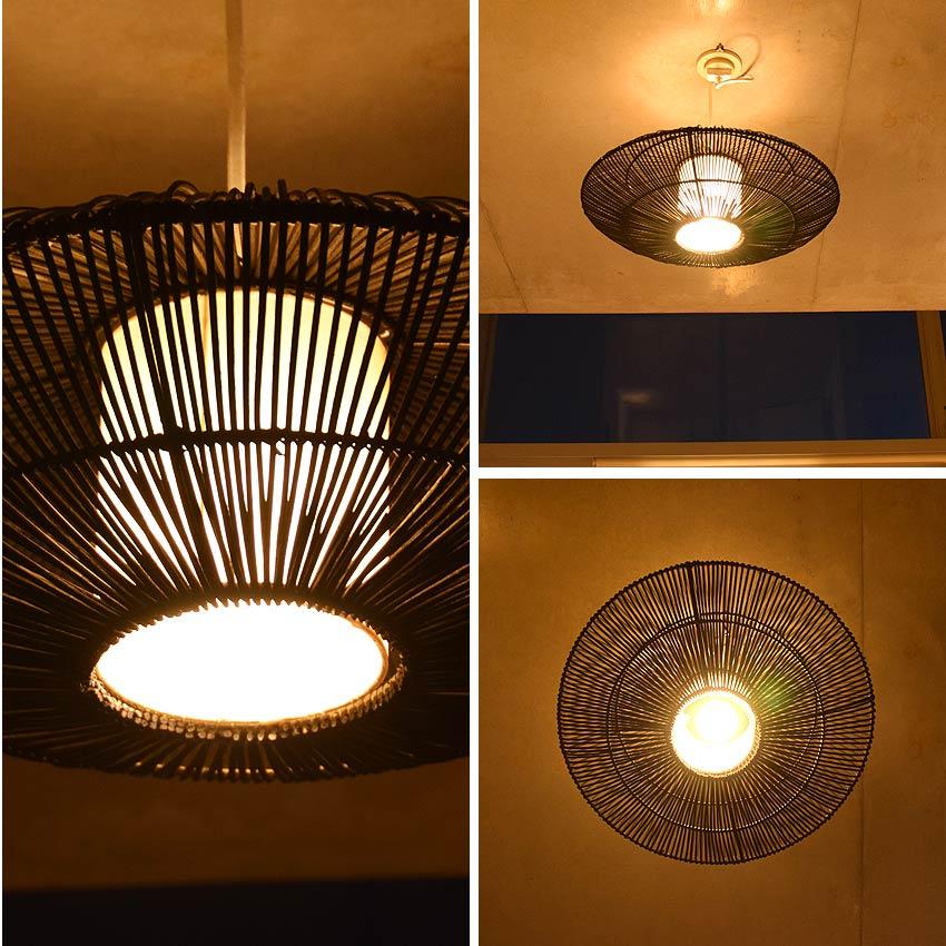 アジアン照明。黒色のラタン製ペンダントライト間接照明