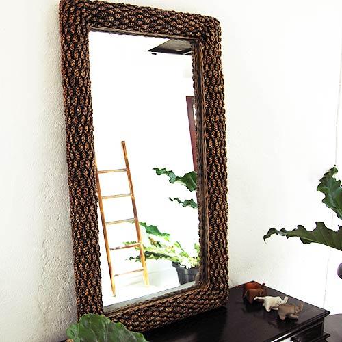 ウォーターヒヤシンスの壁掛け鏡。インテリアミラー。