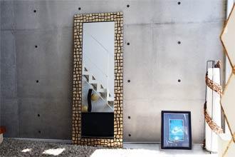 ミラー、姿見鏡、リゾートテイストのシェルの鏡