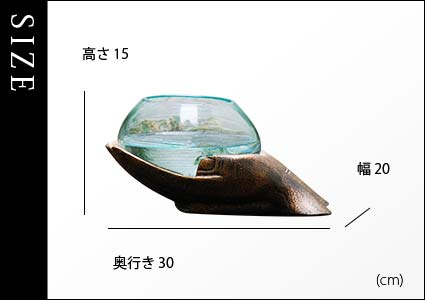 手形のオブジェ。ガラスの花瓶・水鉢