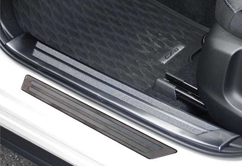 CX-8 内側&外側 スカッフプレート ブラック 滑り止め付き 保護パーツ 2点セット