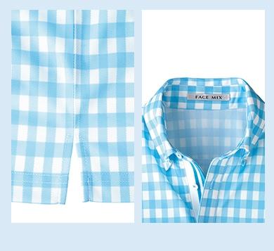 チェックプリントポロシャツ,FB4523U