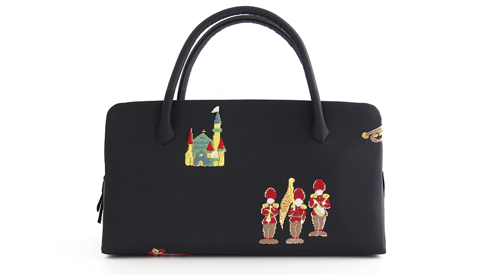 和装バッグ(利休バッグ)おしゃれ着用葵バッグ「おとぎの国」黒地