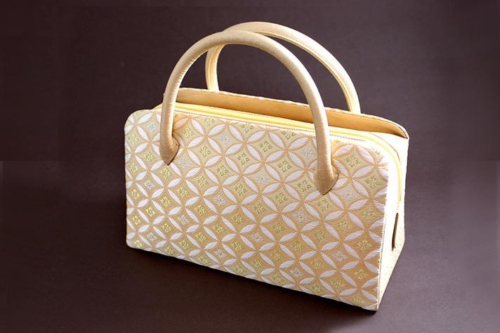 葵バッグ「彩かすみ七宝文・オレンジ」 和装バッグ・利休バッグ・着物用ハンドバッグ 井澤屋