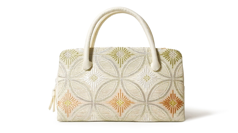 和装バッグ(利休バッグ)夏向けの葵バッグ「七宝に菱菊」