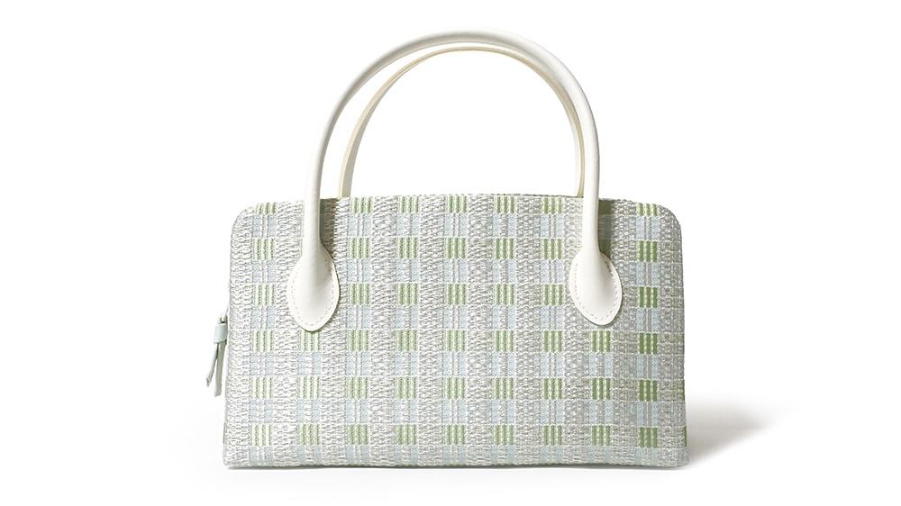 和装バッグ(利休バッグ)夏向けの葵バッグ「絽 横段市松」