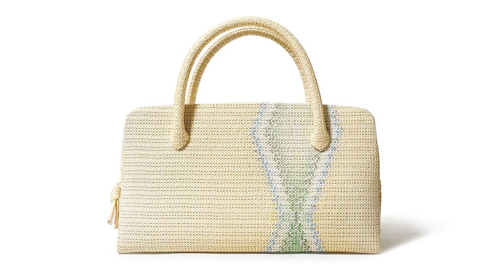 和装バッグ(利休バッグ)夏向けの葵バッグ「正倉院平組 献上二色流し」