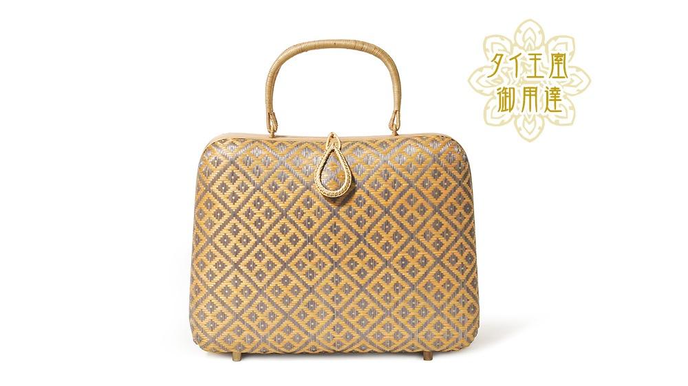 タイ製 竹細工 ハンドバッグ グレージュ