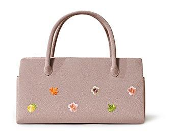 ふたばバッグ横長 「小花ちらし」 C. あずき
