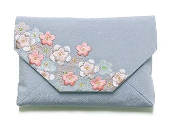 桜のちりめん刺繍数寄屋袋 C. ブルーグレー
