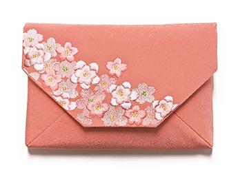 桜のちりめん刺繍数寄屋袋 A. サーモンピンク