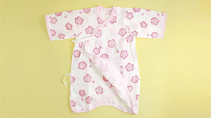 赤ちゃん用ガーゼ肌着(コンビ肌着)「りんりん」桜梅柄・和柄 ベビー用ガーゼウェア