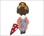 ミニガーゼ刺繍ハンカチ「舞妓(傘)」