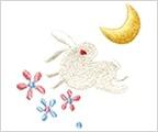 ミニガーゼ刺繍ハンカチ「月うさぎ」
