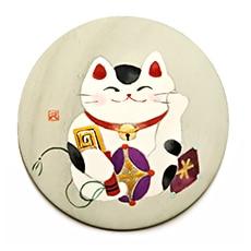 手描き桐手鏡 H. 笑福猫
