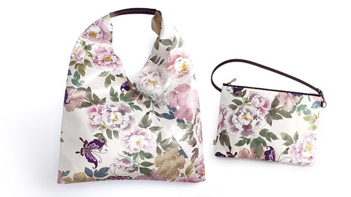 花みやびバッグ 「牡丹に蝶」手提げポーチ付き