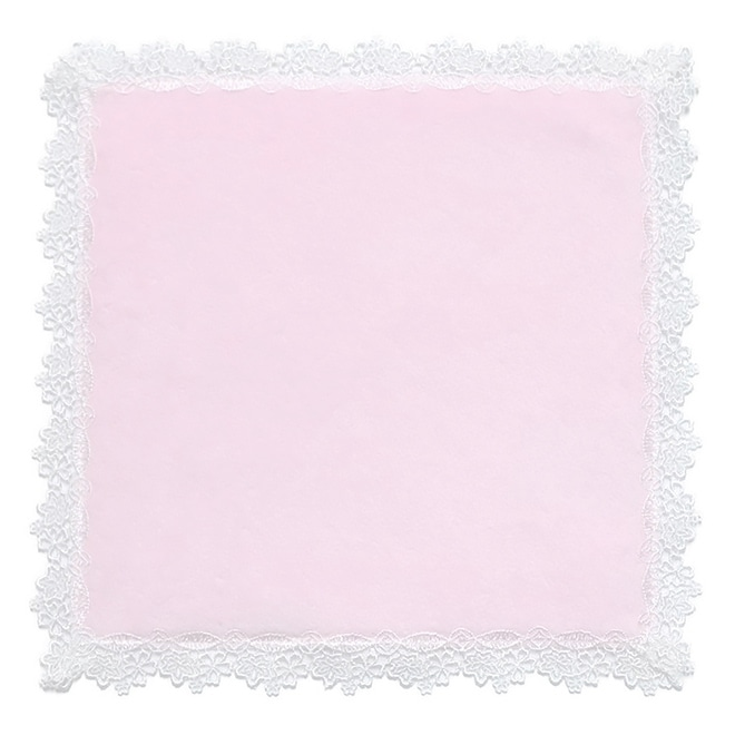 近沢レース店×井澤屋 ふちレースタオルハンカチ「ほの花」 : ピンク