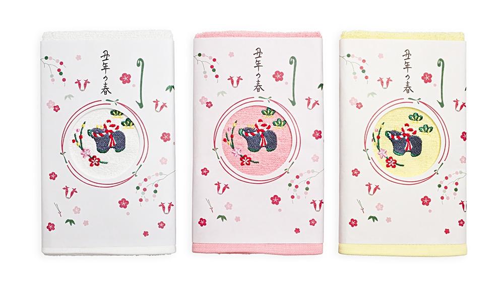 井澤屋 干支刺繍タオル「丑(うし)」