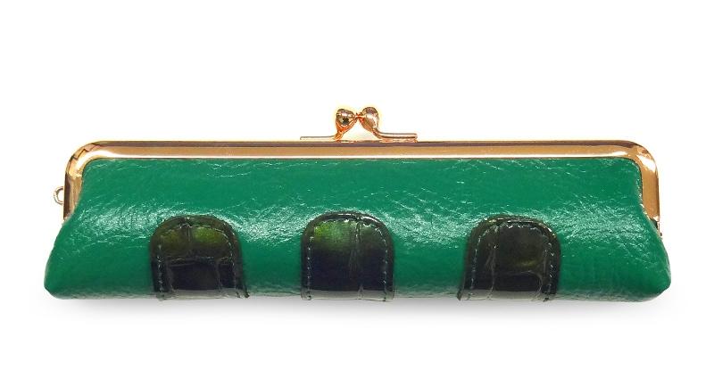 カーフ 仕切り付きコンビ小銭入れ A. 緑+濃グリーン