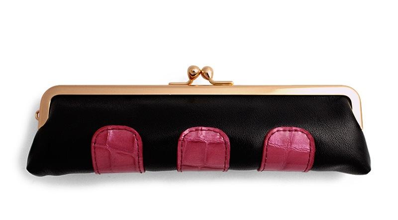 カーフ 仕切り付きコンビ小銭入れ I. 黒+濃ピンク