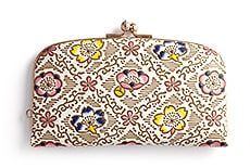 白革 がま口財布 G.梅と桜(紺)