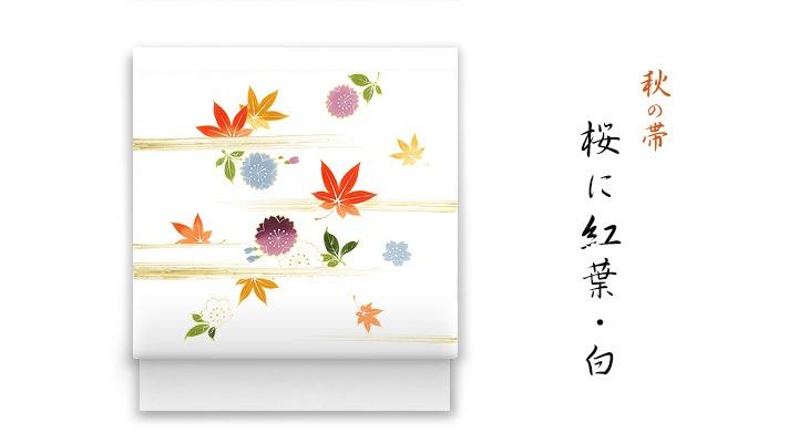 井澤屋 洗える帯 秋の新塩瀬帯「桜に紅葉」白地 春秋柄