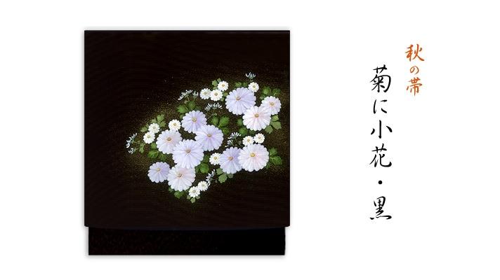 井澤屋 洗える帯 名古屋帯 秋の新塩瀬帯「菊に小花」 黒地 菊柄