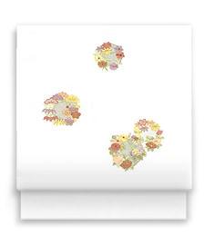 新塩瀬帯「花の丸縫」白地