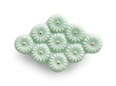 陶器の帯留め 菱形 B. アイスグリーン