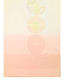 帯揚げ 七宝金銀縫取刺繍 C. 淡黄 × アプリコット