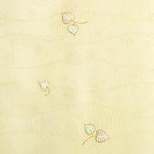 帯揚げ 双葉葵刺繍 C. イエロー