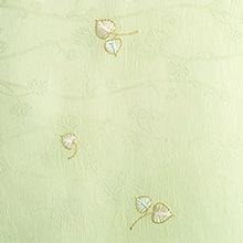 帯揚げ 双葉葵刺繍 D. グリーン
