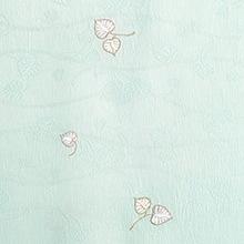 帯揚げ 双葉葵刺繍 E. ブルー