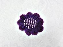 帯揚げ 綸子唐草輪出し梅楓  G. 紫