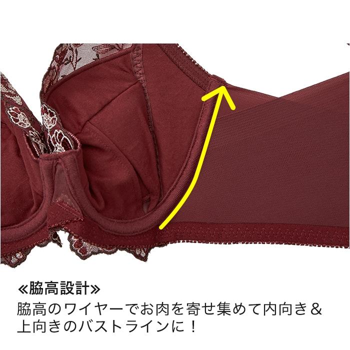 ≪脇高設計≫脇高のワイヤーでお肉を寄せ集めて内向き&上向きのバストラインに!