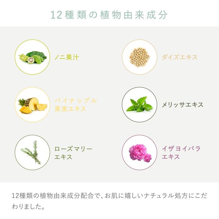 12種類の植物由来成分 ノニ過果汁 ダイズエキス パイナップル果汁エキス メリッサエキス ローズマリーエキス イザヨイバラエキス 12種類の植物由来成分でお肌に嬉しいナチュラル処方にこだわりました。