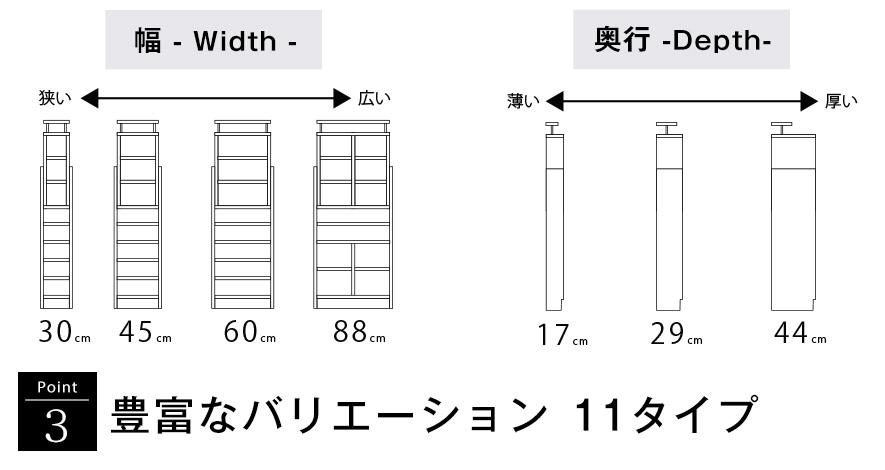 ポイント3 豊富なバリエーション 11タイプ。幅30cm、幅45cm、幅60cm、幅88cm、奥行17cm、29cm、44cm。