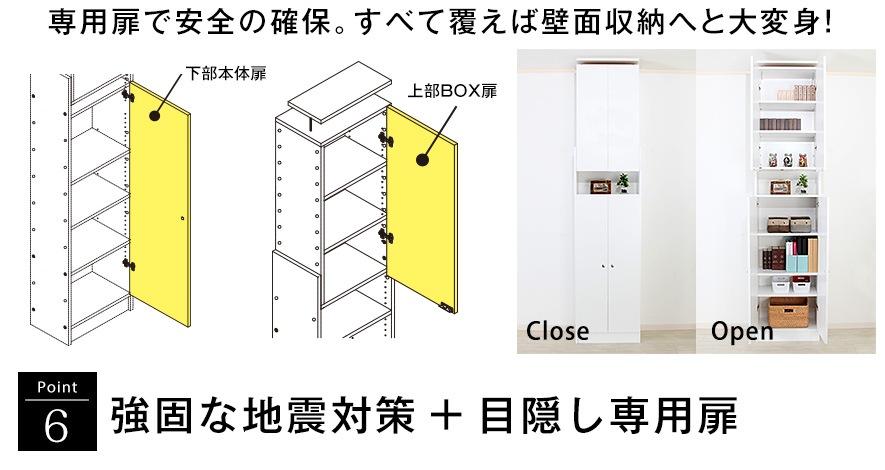 ポイント6 強固な地震対策+目隠し専用扉。専用扉で安全の確保。すべて覆えば壁面収納へと大変身!