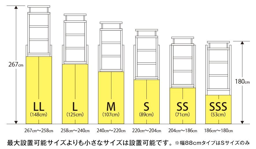最大設置可能サイズよりも小さなサイズは設置可能です。※幅88cmタイプはSサイズのみ