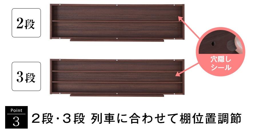ポイント3 2段・3段 列車に合わせて棚位置調節