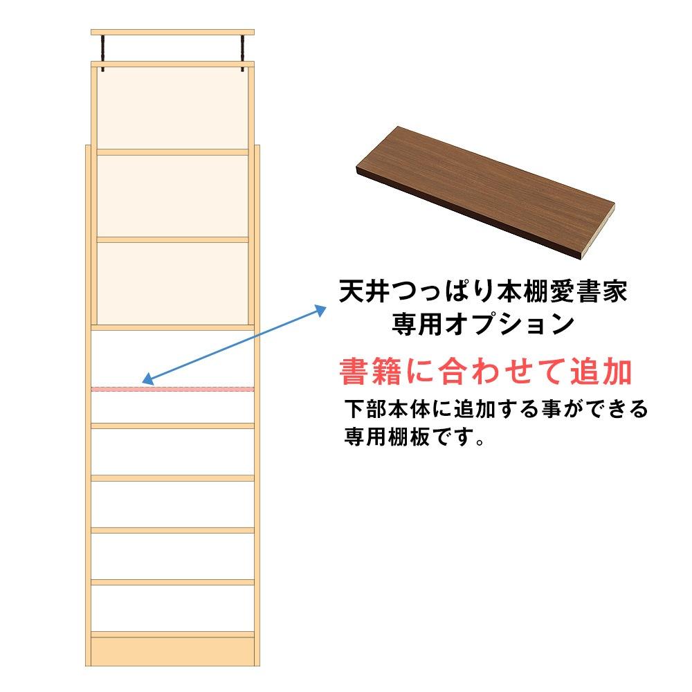 天井つっぱり本棚愛書家専用オプション。書籍に合わせて追加。下部本体に追加する事ができる専用棚板です。