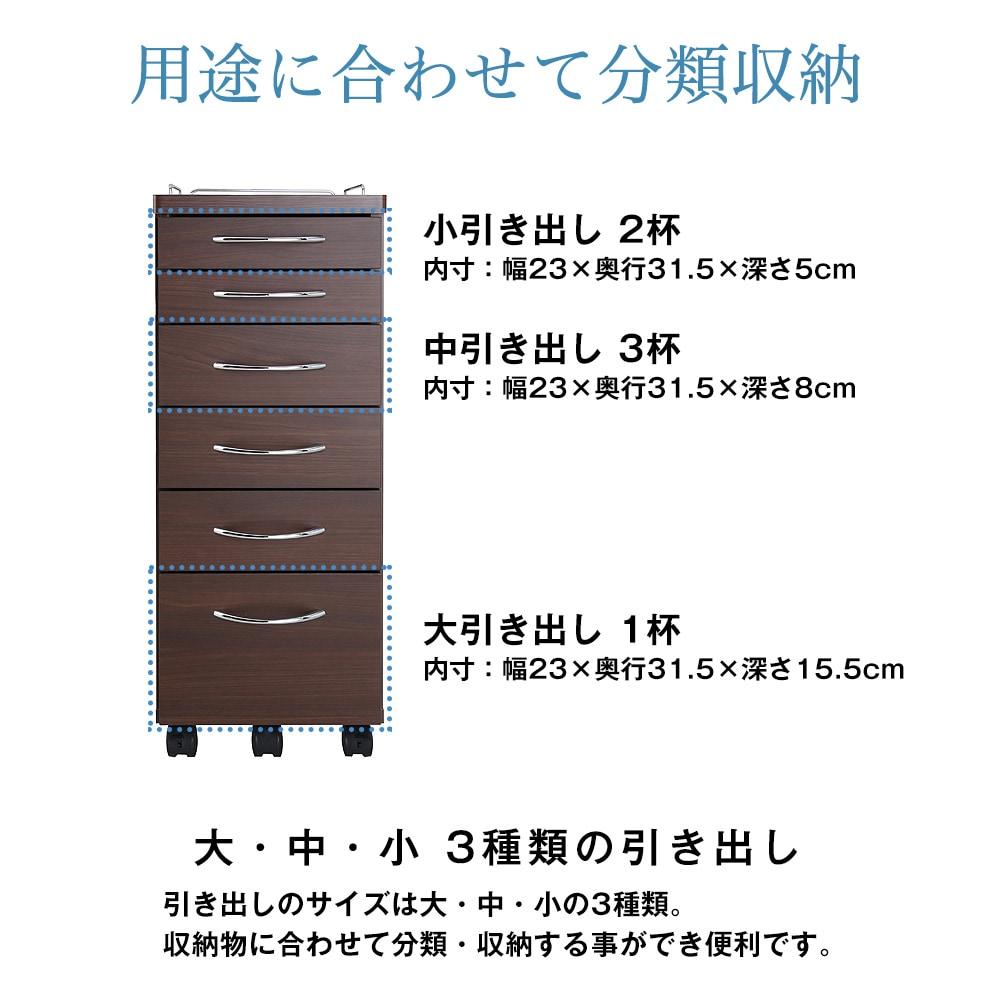 用途に合わせて分類収納。引き出しのサイズは大・中・小の3種類。収納物に合わせて分類・収納する事ができ便利です。