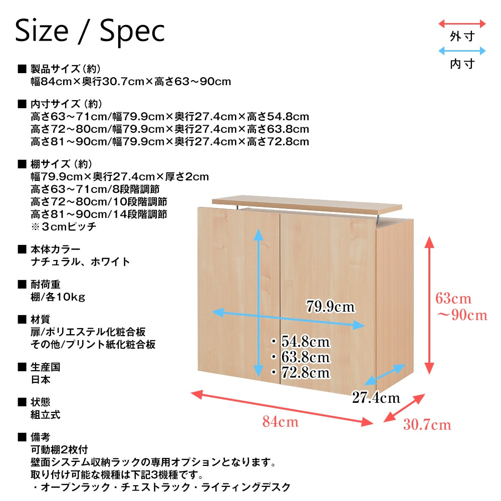 壁面システム収納ラック 璧 専用セミオーダー上置き ハイタイプ 幅84cm×奥行30.7cm×高さ63〜90cm 書棚・本棚・収納棚・収納ラック・壁面収納・専用上置き・日本製・セミオーダー CM-84UM/CM-84UL/CM-84ULL 製品仕様
