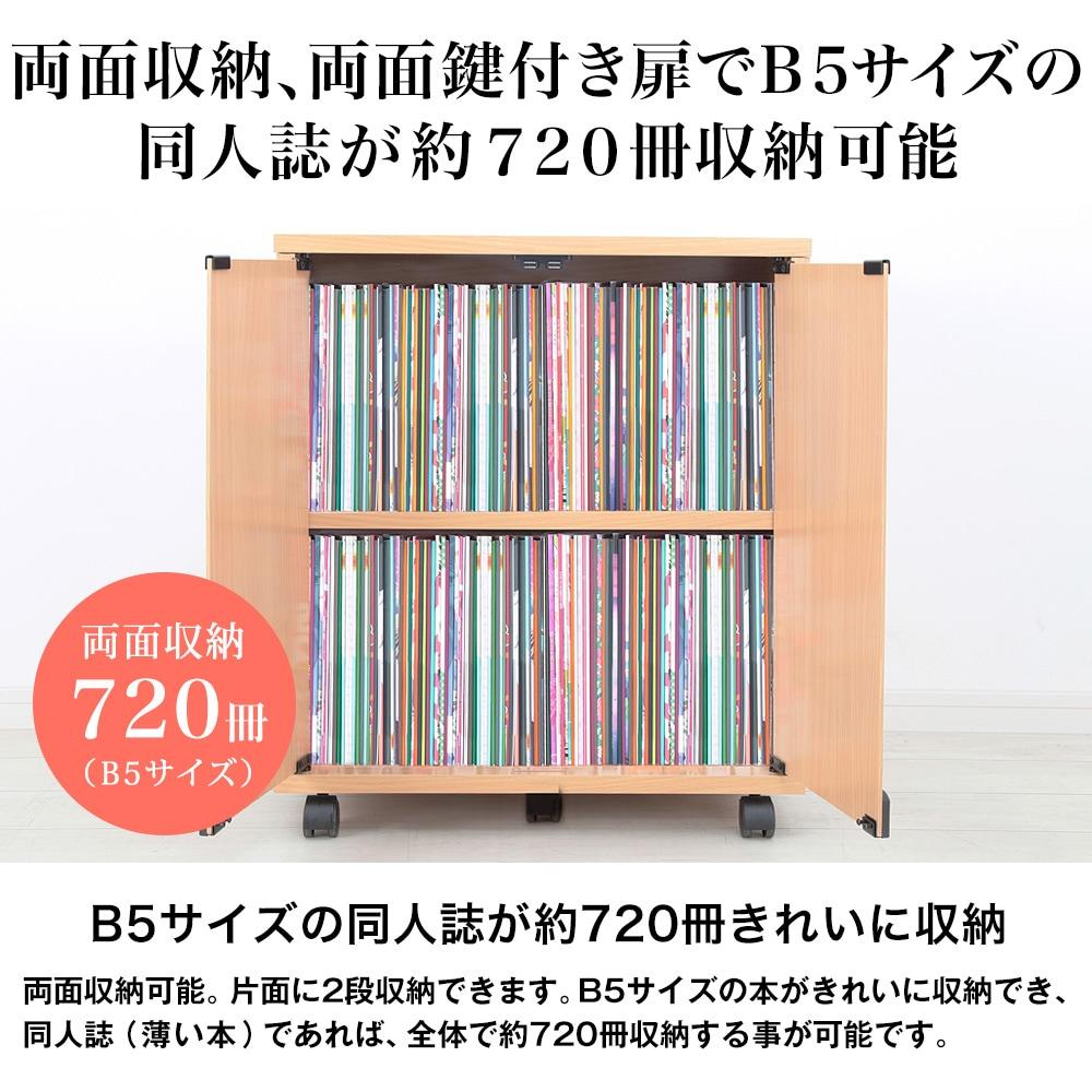 両面収納、両面鍵付き扉でB5サイズの同人誌が約720冊収納可能。B5サイズの同人誌が約720冊きれいに収納。両面収納可能。片面に2段収納できます。B5サイズの本がきれいに収納でき、同人誌(薄い本)であれば、全体で約720冊収納する事が可能です。