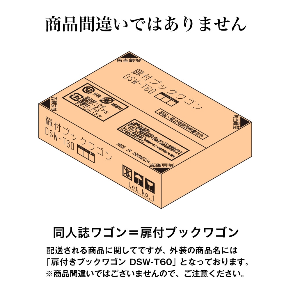 同人誌ワゴン=扉付ブックワゴン。配送される商品に関してですが、外装の商品名には「扉付きブックワゴンDSW-T60」となっております。※商品間違いではございませんので、ご注意ください。