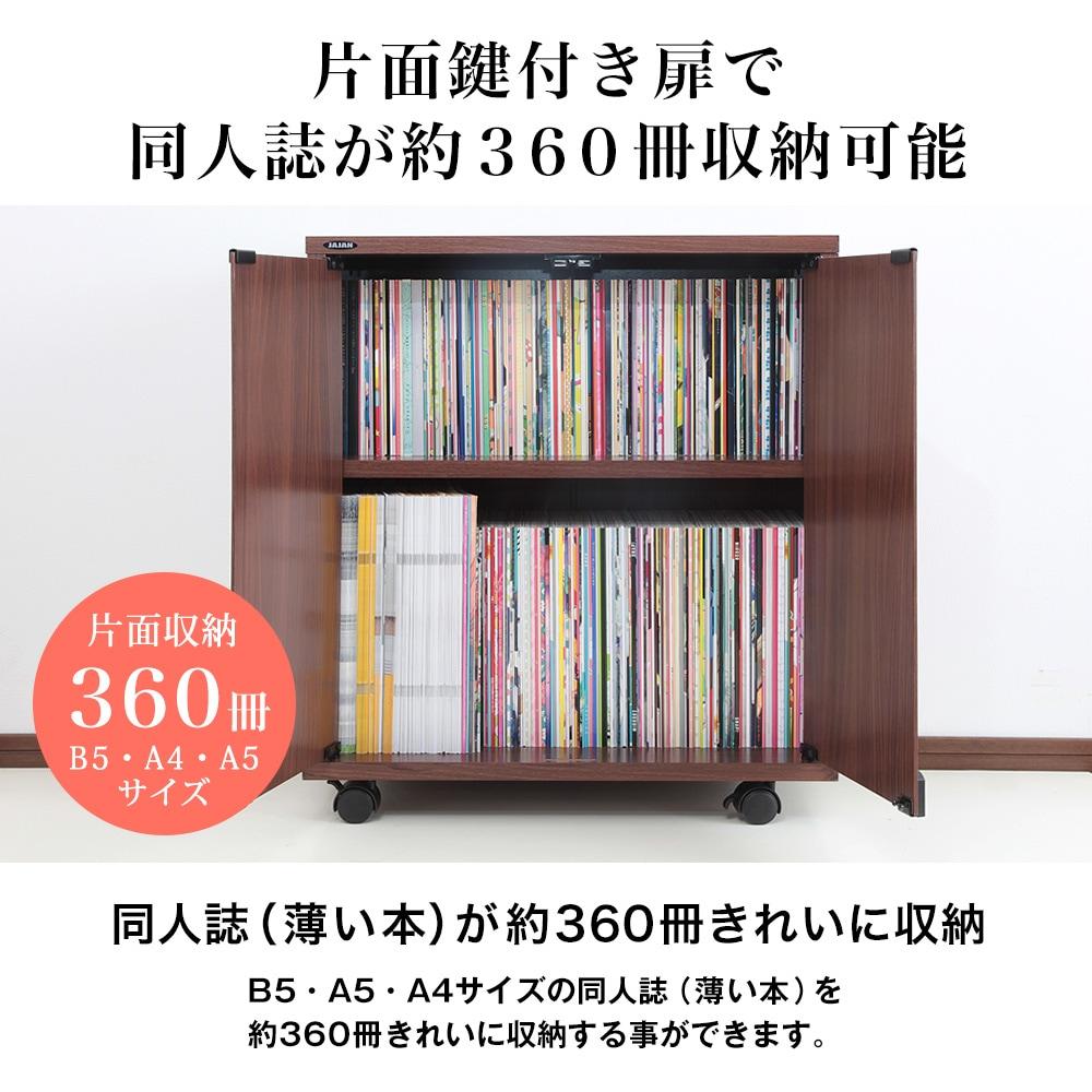 片面鍵付き扉で同人誌が約360冊収納可能。同人誌(薄い本)が約360冊きれいに収納。B5・A5・A4サイズの同人誌(薄い本)を約360冊きれいに収納する事ができます。