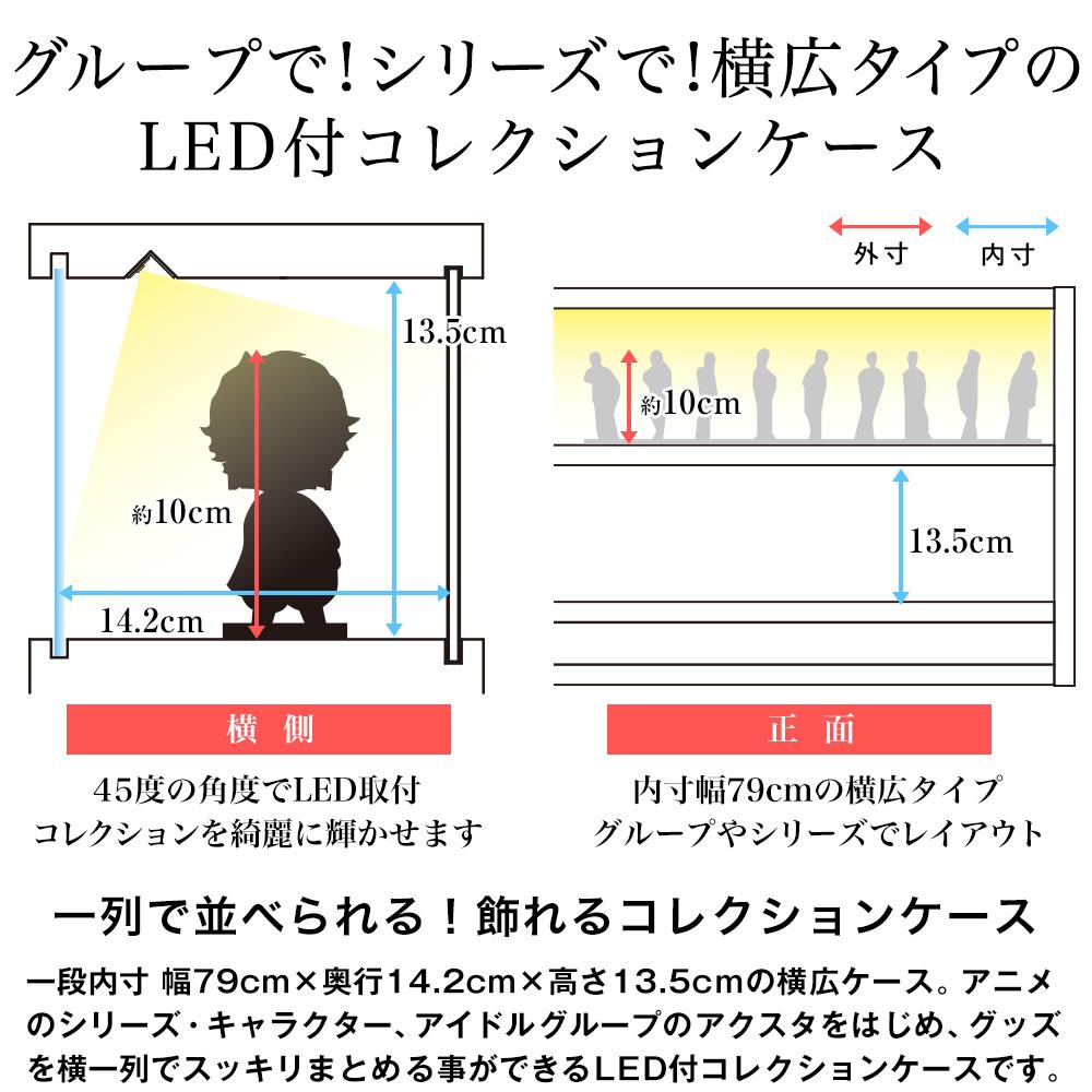 グループで!シリーズで!横広タイプのLED付コレクションケース。45度の角度でLED取付コレクションを綺麗に輝かせます。内寸幅79cmの横広タイプグループやシリーズでレイアウト。一列で並べられる!飾れるコレクションケース。一段内寸 幅79cm×奥行14.2cm×高さ13.5cmの横広ケース。アニメのシリーズ・キャラクター、アイドルグループのアクスタをはじめ、グッズを横一列でスッキリまとめる事ができるLED付コレクションケースです。