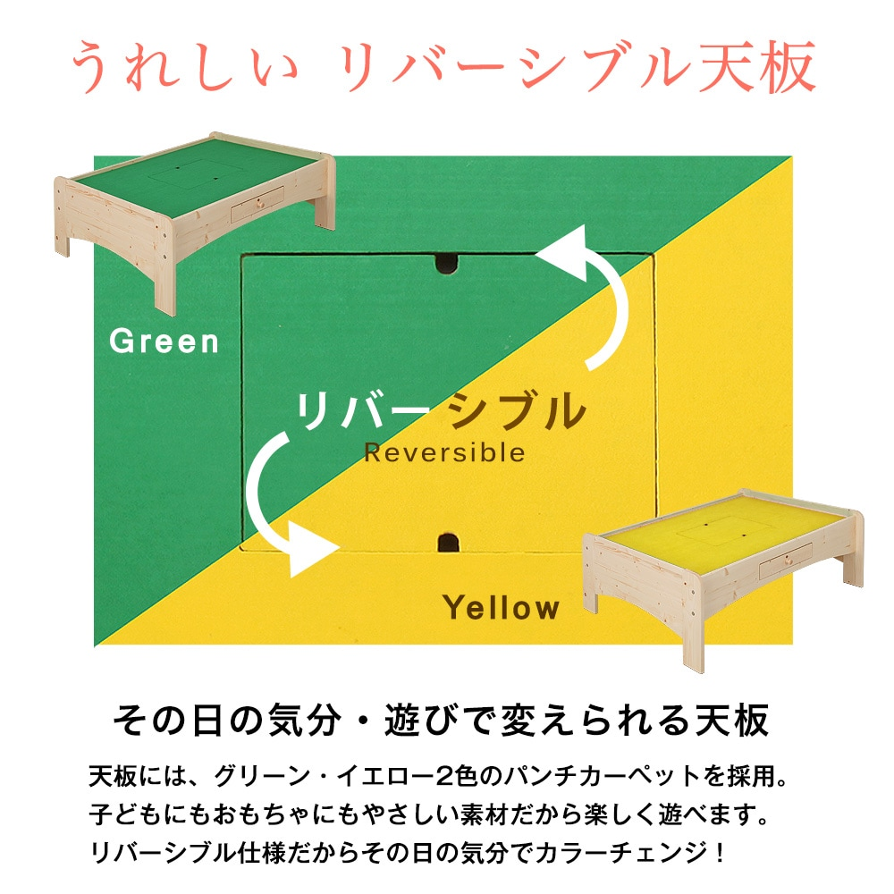 天板には、グリーン・イエロー2色のパンチカーペットを採用。子どもにもおもちゃにもやさしい素材だから楽しく遊べます。リバーシブル仕様だからその日の気分でカラーチェンジ!