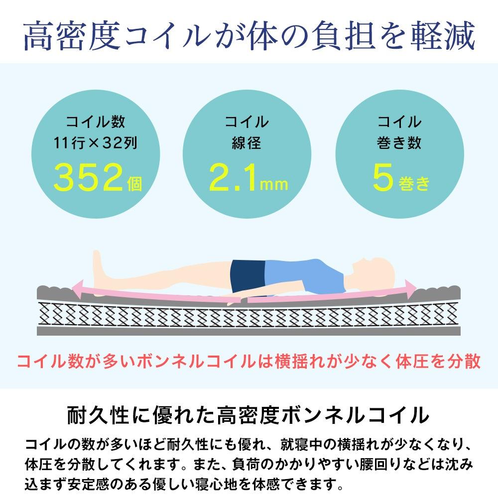 高密度コイルが体の負担を軽減。耐久性に優れた高密度ボンネルコイル。コイルの数が多いほど耐久性にも優れ、就寝中の横揺れが少なくなり、体圧を分散してくれます。また、負荷のかかりやすい腰回りなどは沈み込まず安定感のある優しい寝心地を体感できます。コイル数:352個(11行×32列)、コイル線径:32.1mm、コイル巻き数:5巻き